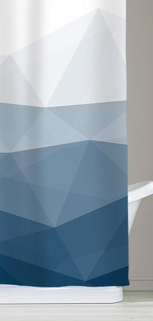 Ombre Blue Fabric Shower Curtains for Bathroom Decor