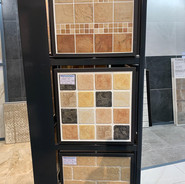 1. Quary Terra + Sand 10 x 10 2. Marble Age 10 x 10  3. Tivet Ocre 10 x 30