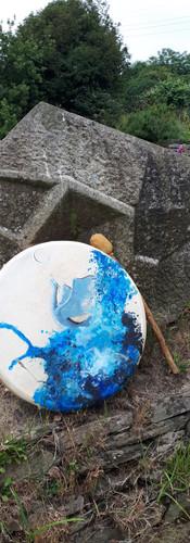 Tambour chamanique peint dragon eau