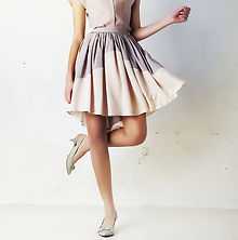 Model in Blouse and Skirt