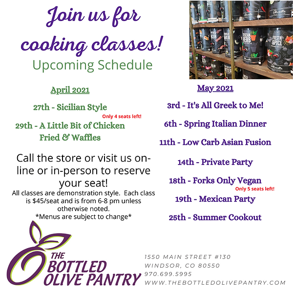 Cooking Classes April May 2021 (Updated)