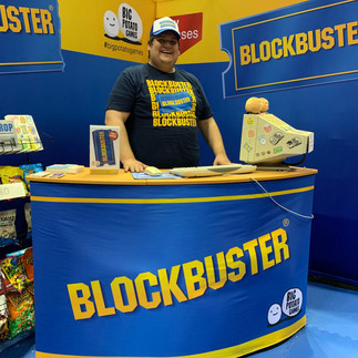 This attendee was wearing a Blockbuster tee at the convention