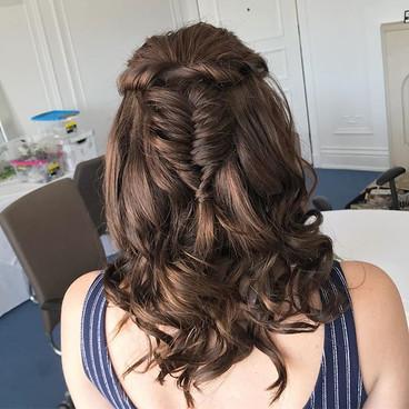 Bridesmaids boho fishtail braid half up