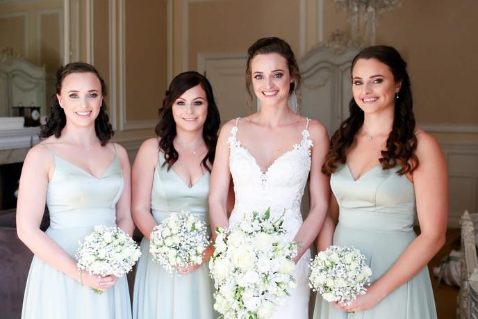 Bridesmaids and bride hair and makeup