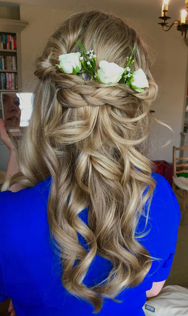 Half up half down with flowers