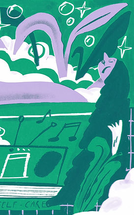 CB illustration - music playing from the radio