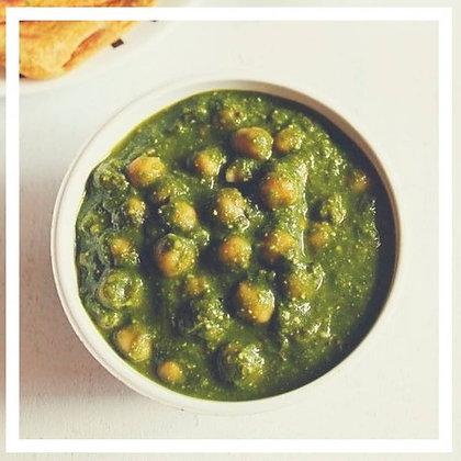 curry de grão de bico com espinafre
