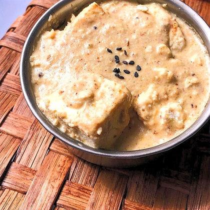 ricota cozida no molho de castanha de caju