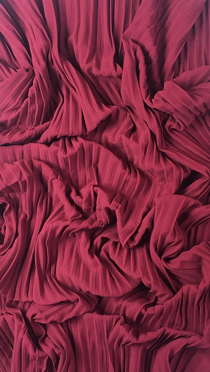Pleated Crepe Chiffon | Red