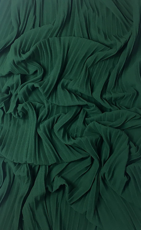 Pleated Crepe Chiffon | Forest Green