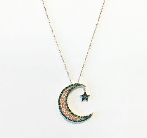 Dainty Necklace | Green Crescent