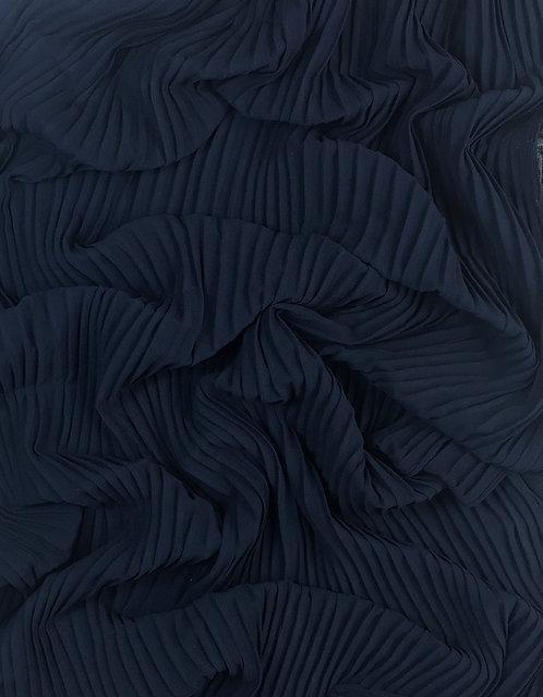 Pleated Crepe Chiffon | Navy Blue