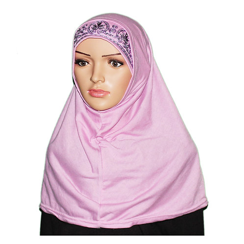 Rhinestone Embroidered Cotton Two Piece Hijab