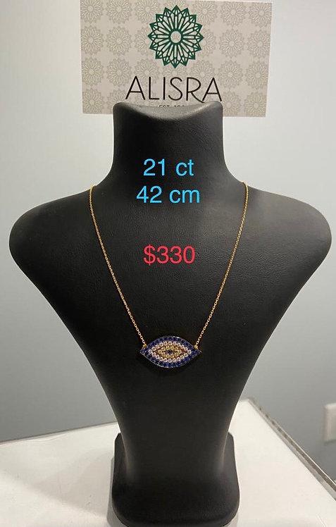 21K Gold Necklace | Blue Eye Shape