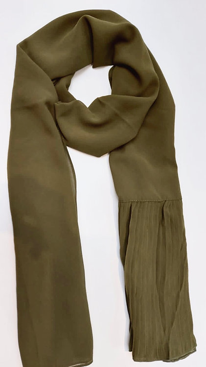 Pleated Wing Chiffon | Olive Green