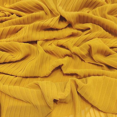 Pleated Crepe Chiffon |Mustard