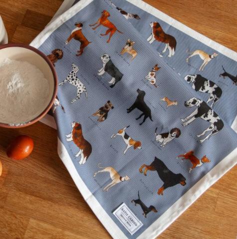 """Katie Cardew """"Dogs Life"""" Tea Towel"""