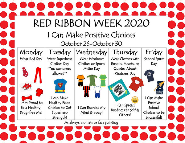RVES 2020 Red Ribbon Spirit Week flyer (
