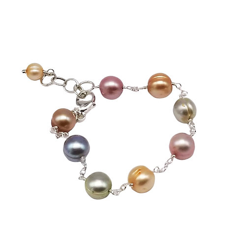 Pastel Pearl Tin Cup Bracelet on Sterling Silver Chain, June Birthstone