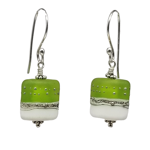 Green and White Lampwork Earrings, Silver Etched