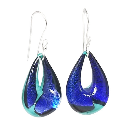 Unique Green and Blue Murano Dichroic Glass Teardrop Earrings