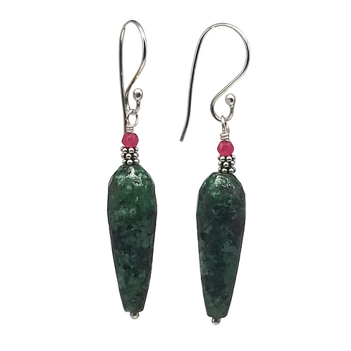 Art Deco Style Red and Green Ruby in Zoisite Earrings