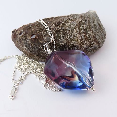 Long Purple and Blue Murano Glass Nugget Necklace