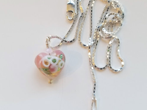Pink and White Murano Glass Heart Pendant on Sterling Silver Chain, Petite 13 mm
