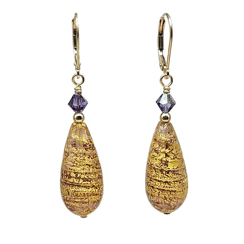 Elegant Purple and Gold Murano Glass Teardrop Earrings
