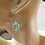 Aqua Dichroic Murano Glass Earrings on Ears