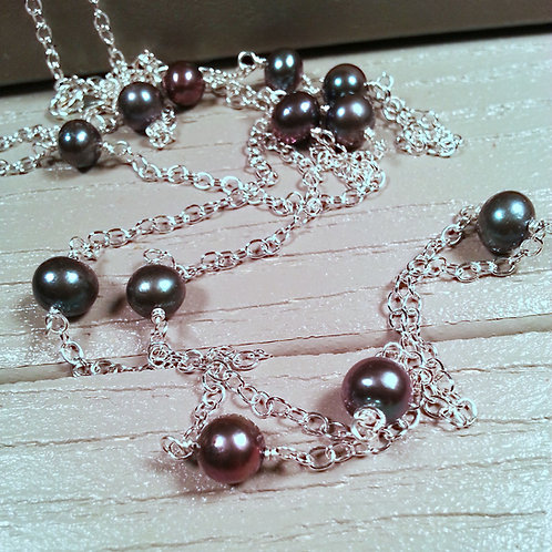 Long Black Peacock Pearl and Sterling Silver Tin Cup Necklace
