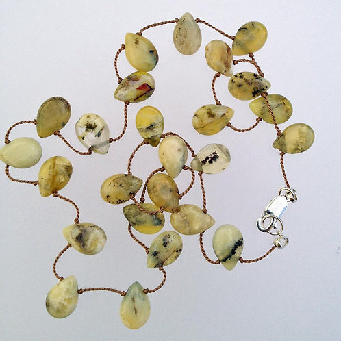 Green prehnite gemstone tin-cup necklace.