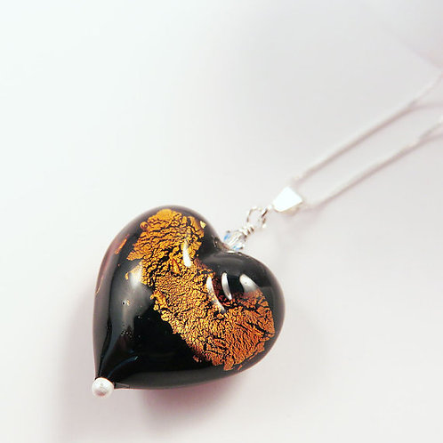 Modern Black and Topaz Murano Glass Heart on Sterling Chain