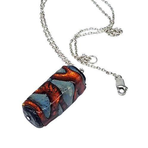 Chunky Orange and Gray Lampwork Glass Pendant Necklace