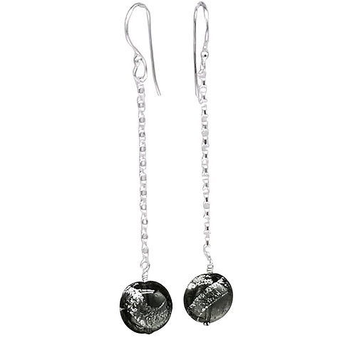 Long Murano Dichroic Silver and Black Sparkler Earrings on Chain