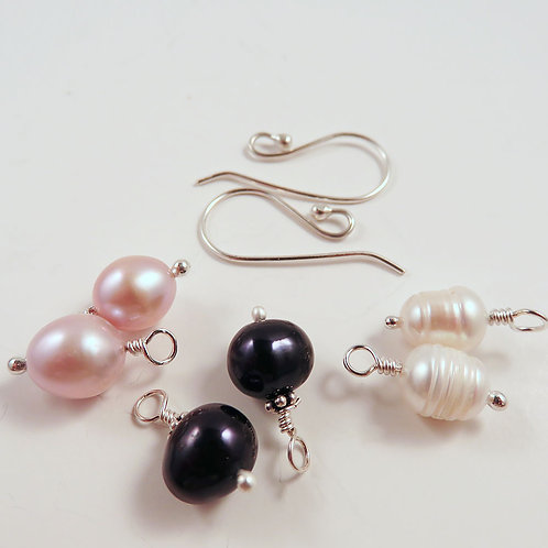 Interchangeable Pink, Black, and White Pearl Earring Set