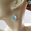 Aqua Dichroic Murano Glass Earrings on Ears 2
