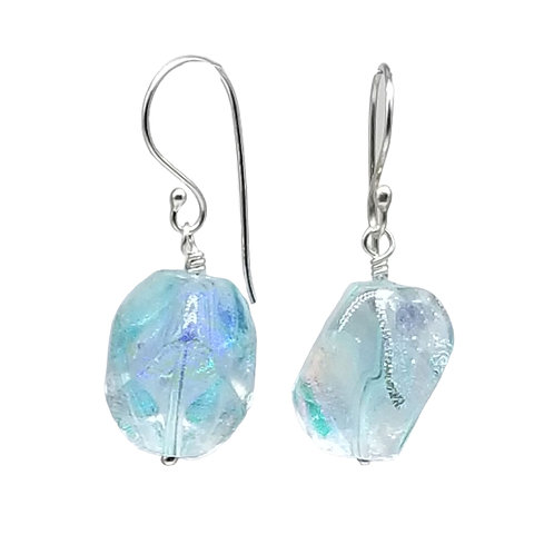 Pale Aqua Murano Pebble-Shaped Earrings with Multi-colored Dichroic Sparkles