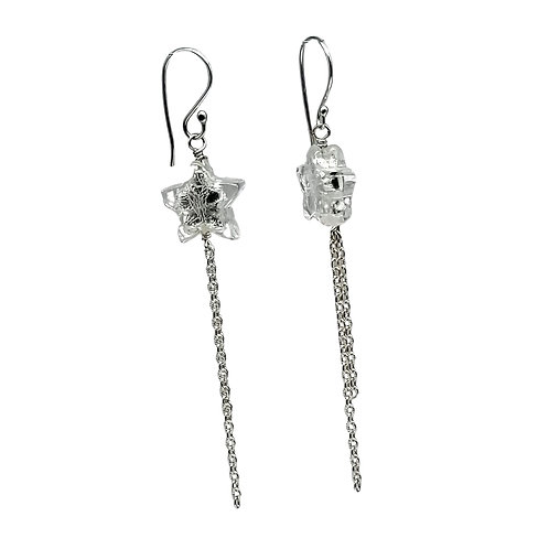 "Silver Murano Glass ""Shooting Star"" Earrings with Long Flowing Chain"