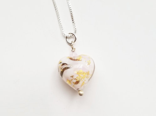Small White and Gold Speckled Murano Glass Heart Pendant / Sterling Silver Chain