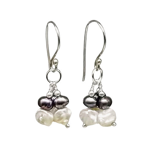 White, Gray, and Silver Cluster Pearl Earrings, June Birthstone