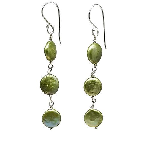 Handmade Long Green Coin Pearl Earrings