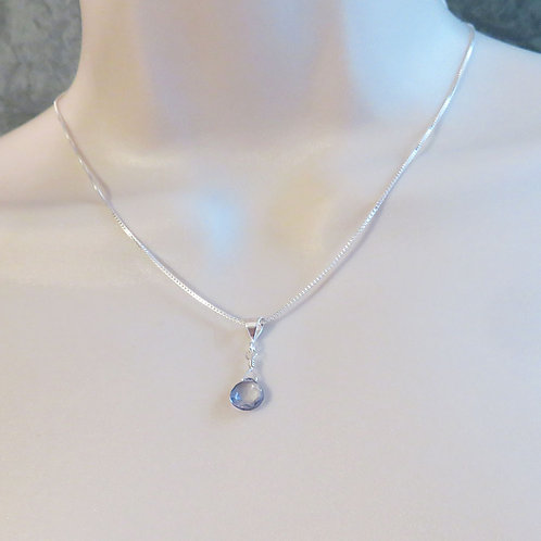 Mystic Blue Quartz Pendant on Sterling Silver Chain on Model