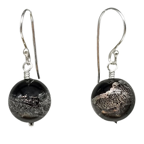 Murano Dichroic Glass Earrings Sparking with Grays