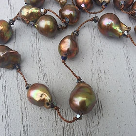 Copper-colored baroque pearl tin cup necklace