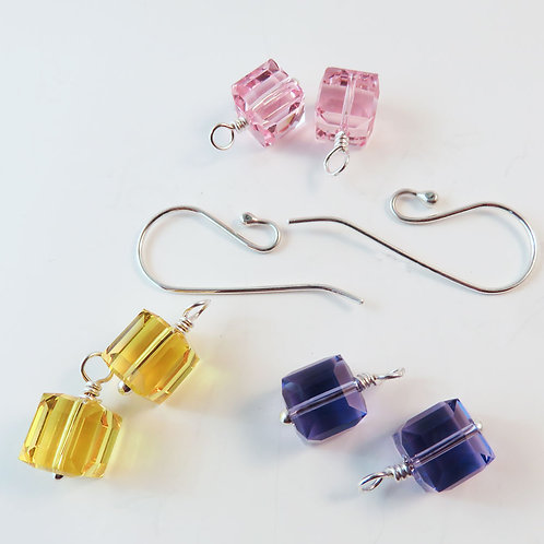 Interchangeable Purple, Pink and Yellow Crystal Cube Earring Set