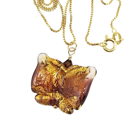 Purple and Gold Murano Glass Butterfly Pendant on Gold-Filled Chain