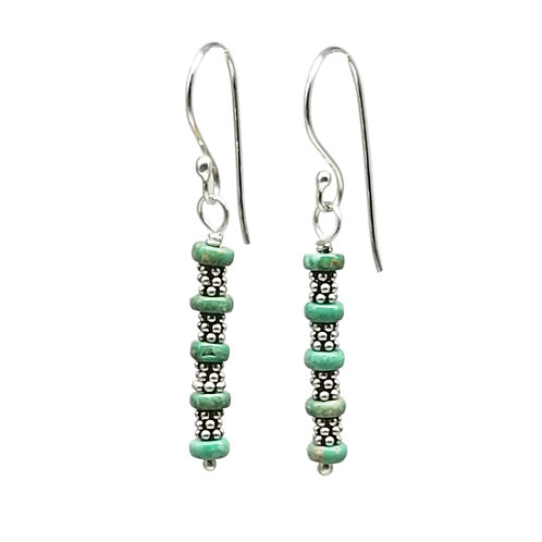 Green Turquoise and Sterling Silver Linear Earrings