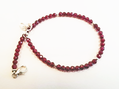 Delicate Ruby and Sterling Silver Bracelet