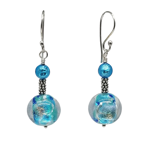 Blue Multi-colored Dichroic Murano Glass Earrings